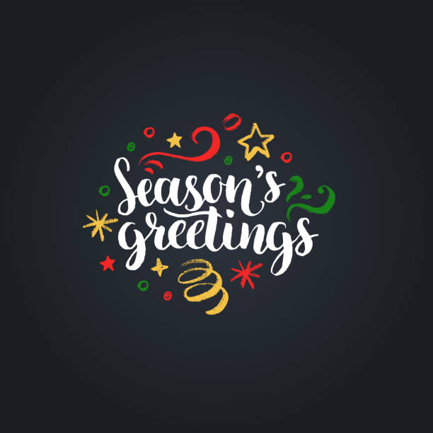 seasons greetings lettering on black background. vector hand drawn christmas illustration. happy holidays greeting card. - happy holidays stock illustrations, clip art, cartoons, & icons
