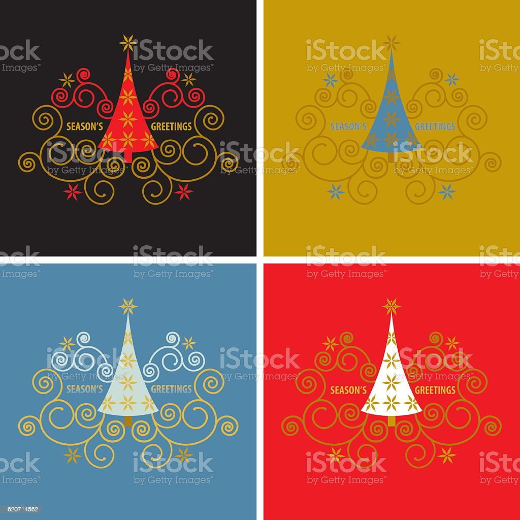 Seasons Greetings Set Stock Vector Art More Images Of Christmas