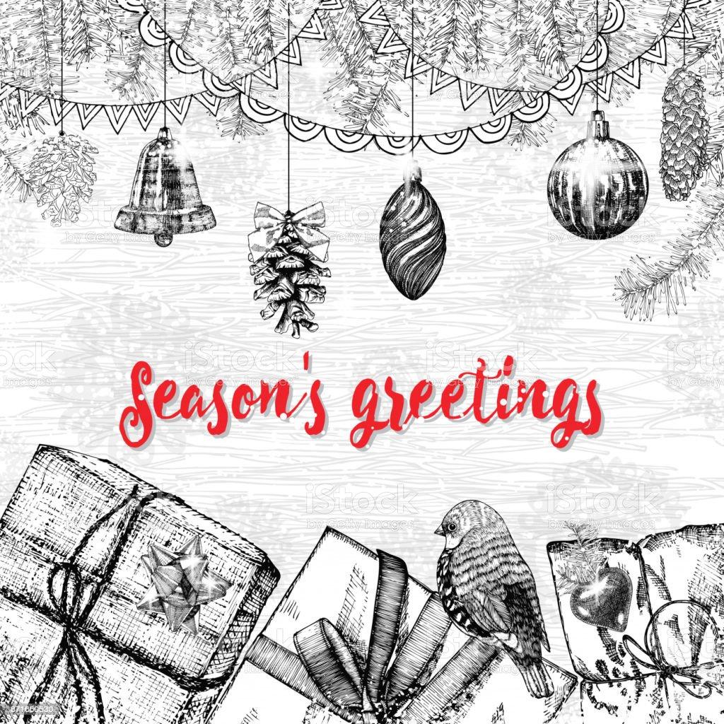 Seasons greetings text design handdrawn typography for banner seasons greetings text design handdrawn typography for banner greeting card gifts kristyandbryce Images