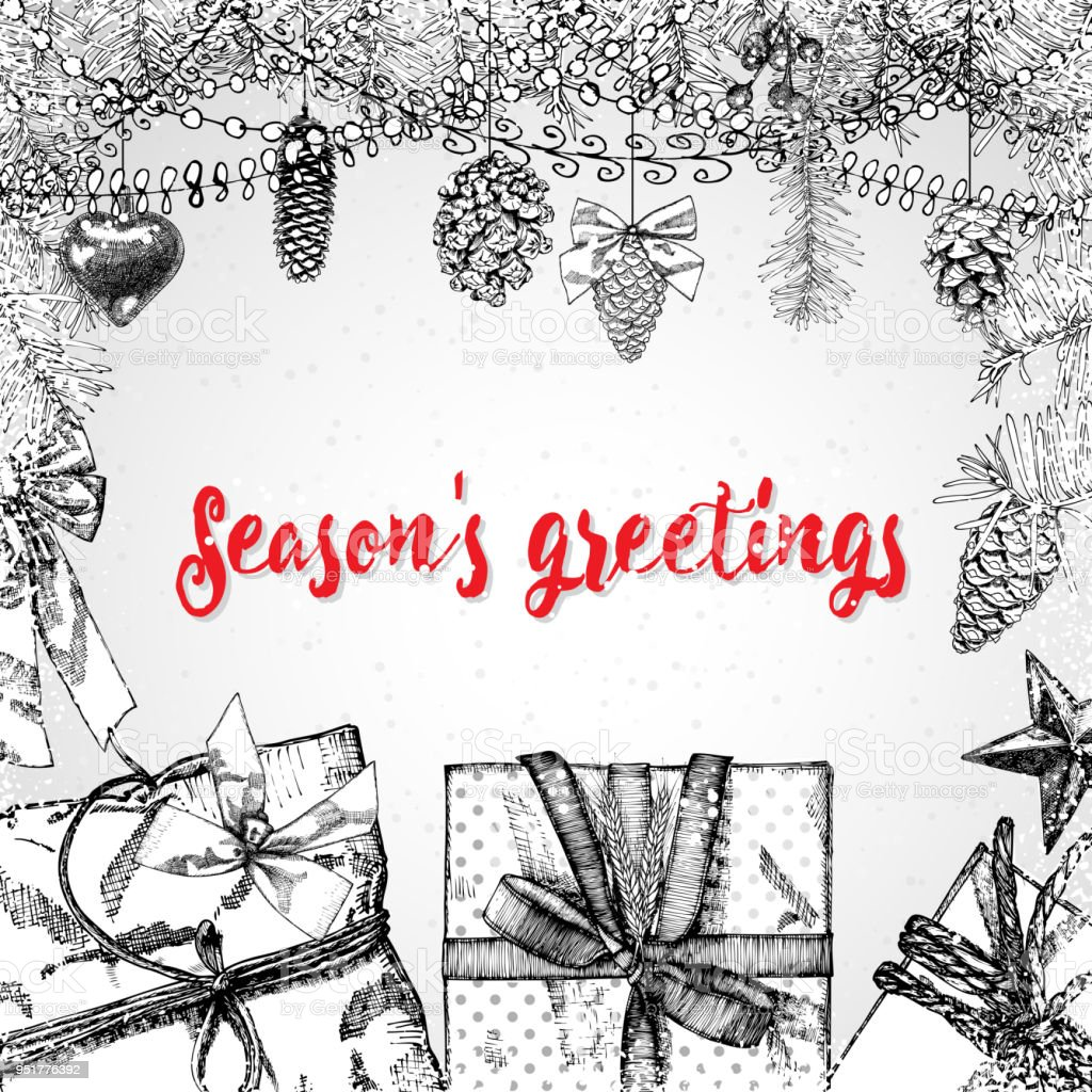 Seasons greetings text design handdrawn typography for banner seasons greetings text design handdrawn typography for banner greeting card gifts m4hsunfo Image collections