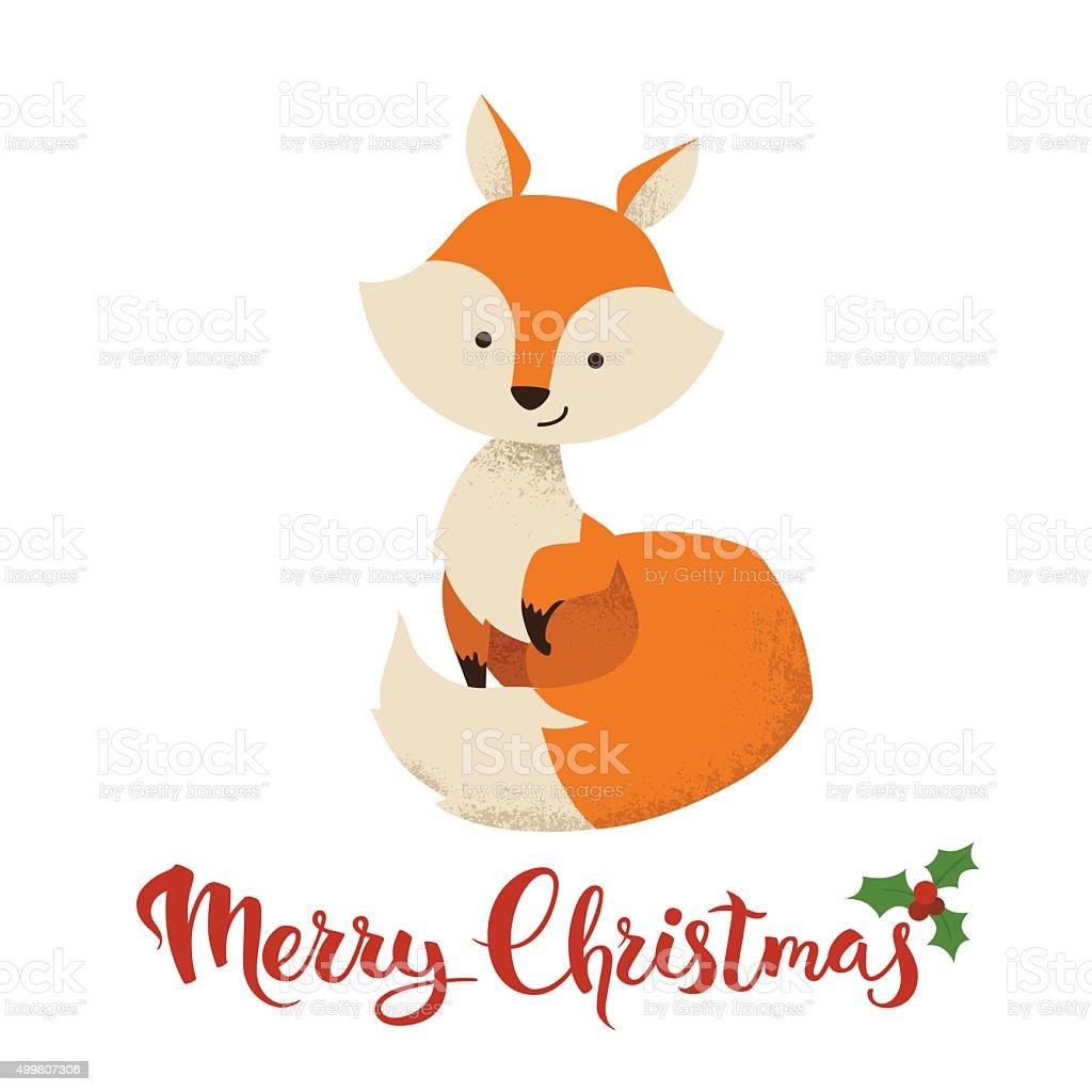 Seasons Greetings Vector Card With Funny Christmas Character Stock