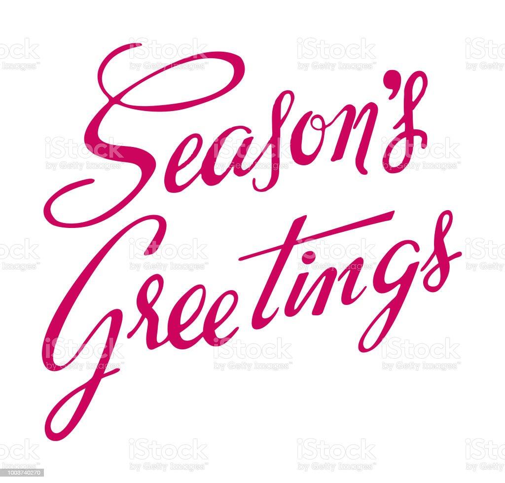 Seasons Greetings Stock Vector Art More Images Of Calligraphy