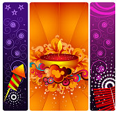 Season's Greetings - Vector Illustration consisting of three vertical bands of Diwali elements. The bands have an illuminated  Diya, sunburst, swirls, twirls, star patterns, firecrackers, rocket sparklers. The left and the right bands are equal in size, multi coloured, have rounded corners and have white separator borders. The middle band is wider than the adjoining bands. No people. Indian traditional diwali art backgound.