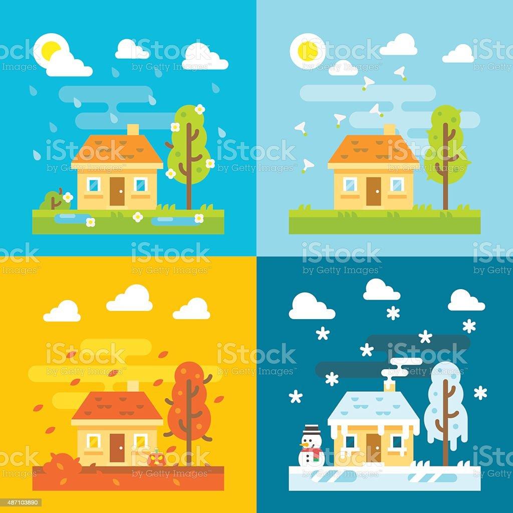 4 seasons house flat design set vector art illustration