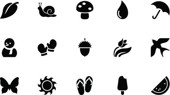 Seasons icons . Simple black