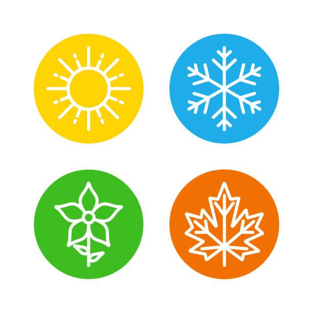 pory roku ustaw kolorowe ikony - four seasons stock illustrations