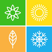 Seasons - winter, spring, summer and autumn.