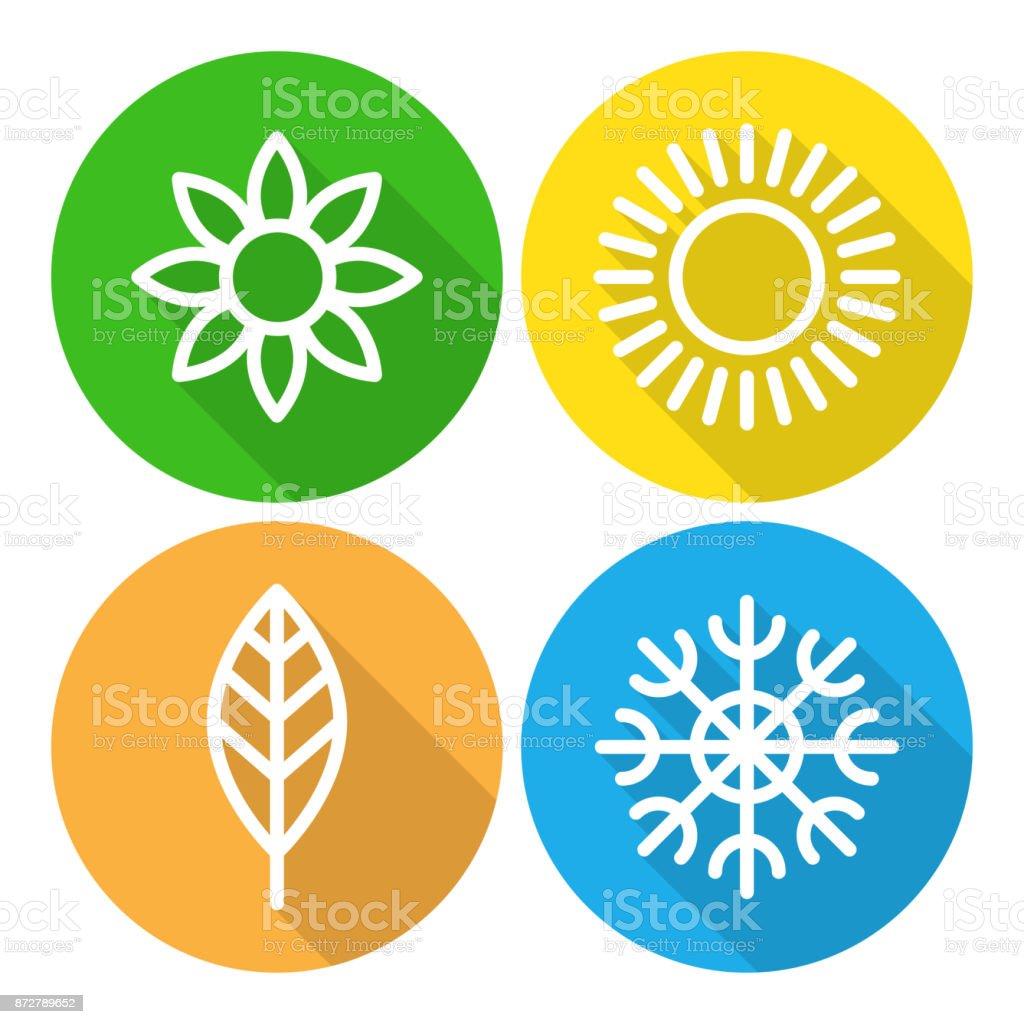 Seasons - winter, spring, summer and autumn. vector art illustration
