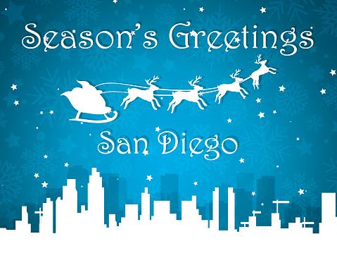 Seasons's Greetings Skyline Postcard of San Diego, California