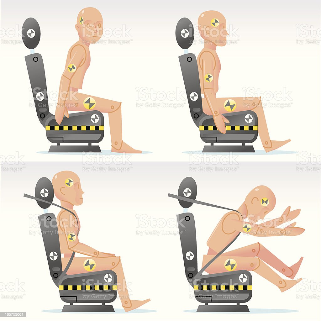 Seat belt crash dummies royalty-free stock vector art