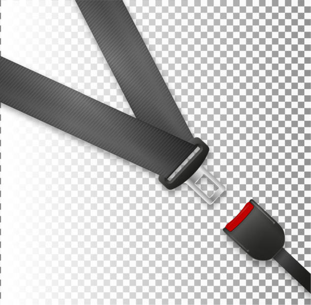 seat belt icon isolated on white background. safety of movement on car, airplane. protection driver and passengers. fastened buckle symbol. - airplane seat stock illustrations