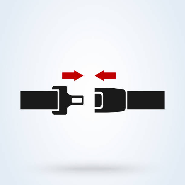 seat belt icon isolated on white background. safety of movement on car, airplane. vector illustration - airplane seat stock illustrations