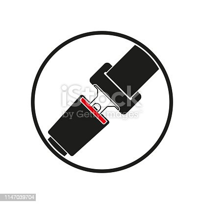 Seat belt icon. Safety in the car or airplane. Vector illustration.