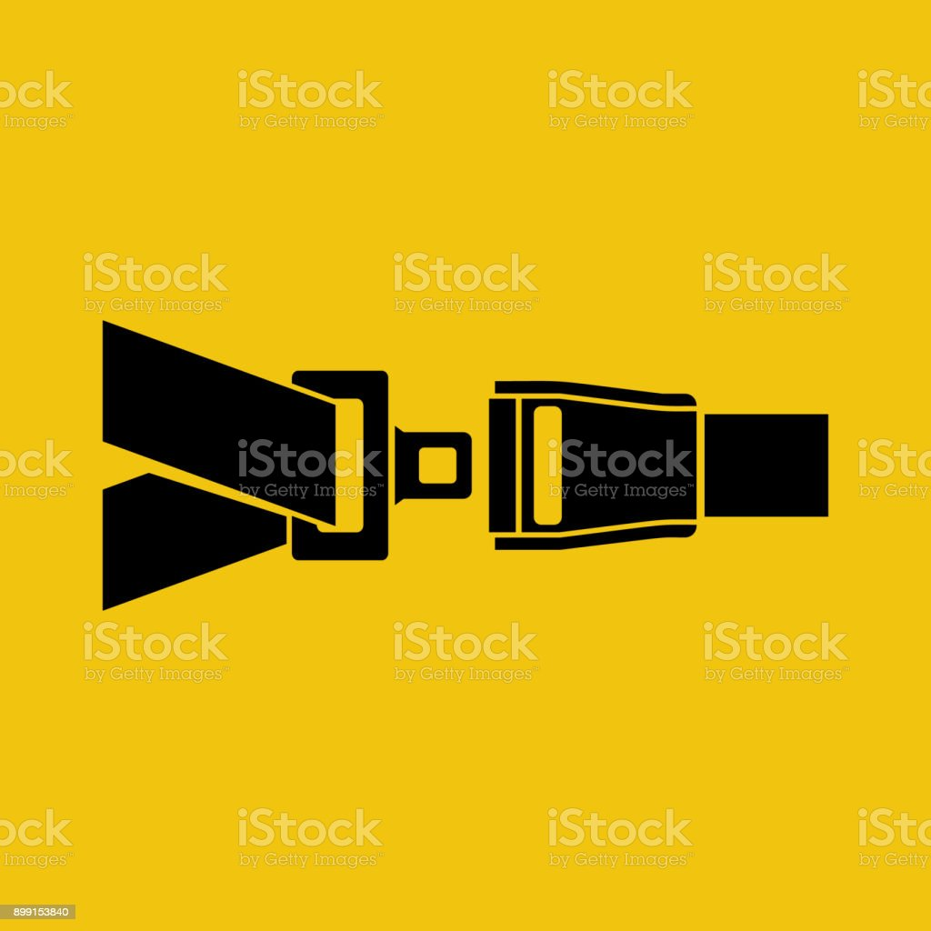 Seat Belt silhouette black icon isolated on yellow background. vector art illustration