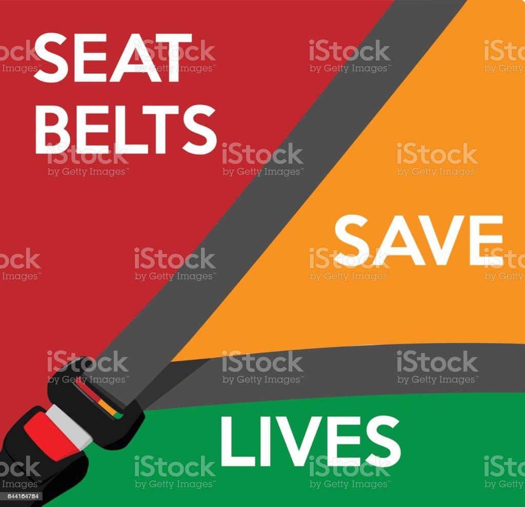 Seat belts save lives template. vector art illustration