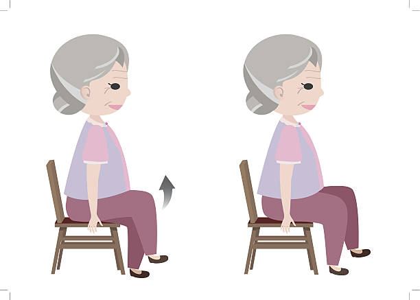 bildbanksillustrationer, clip art samt tecknat material och ikoner med seated march posture exercise - active senior