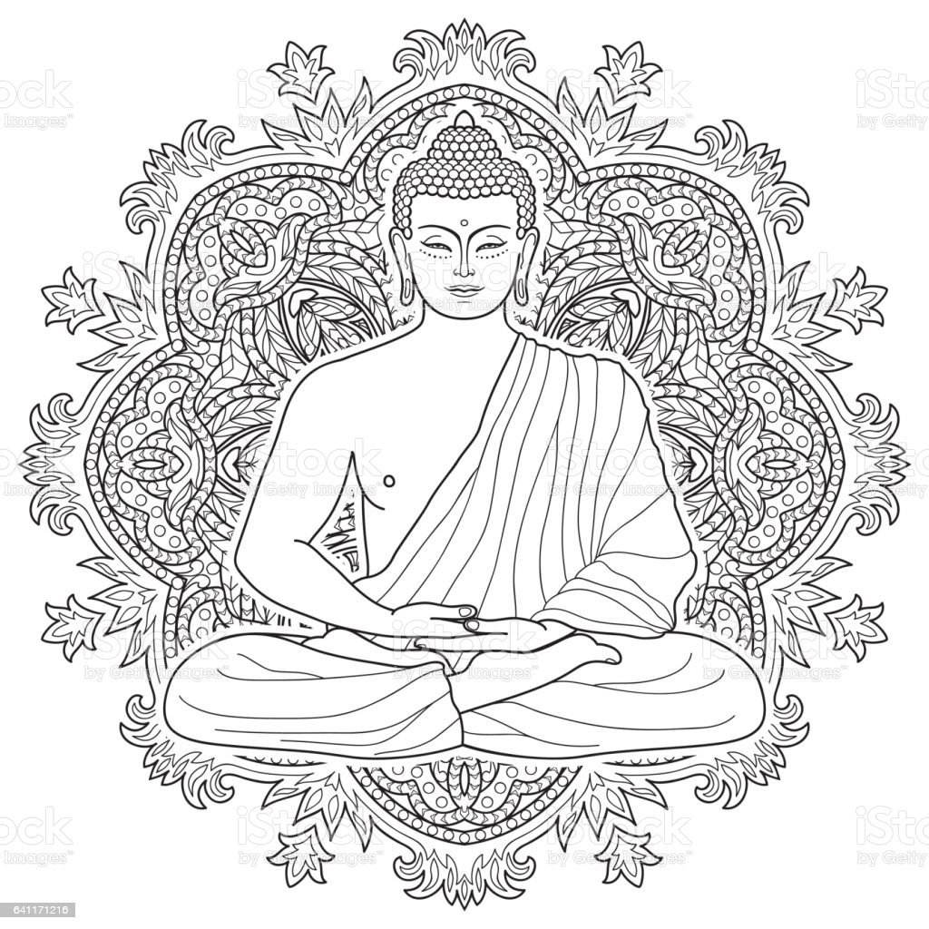 Seated meditating Buddha vector art illustration