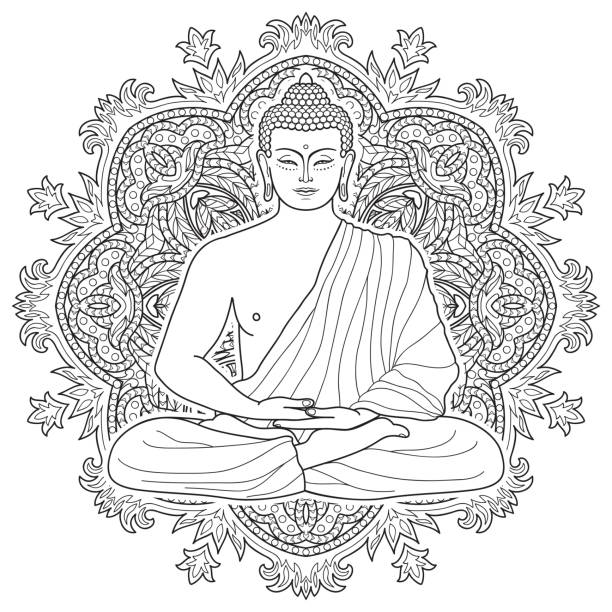 Seated meditating Buddha vector art illustration