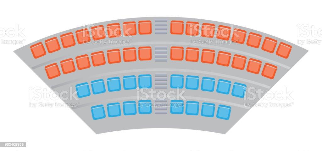 Seats map at the football stadium vector art illustration