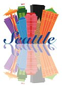Seattle Abstract Skyline and Landmarks Reflection Vector Illustration