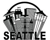 Seattle Abstract Skyline in Circle Black and White Vector Illustration