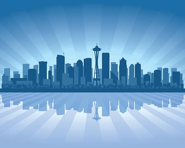 ilustraciones, imágenes clip art, dibujos animados e iconos de stock de silueta azul del horizonte de la ciudad de seattle - seattle