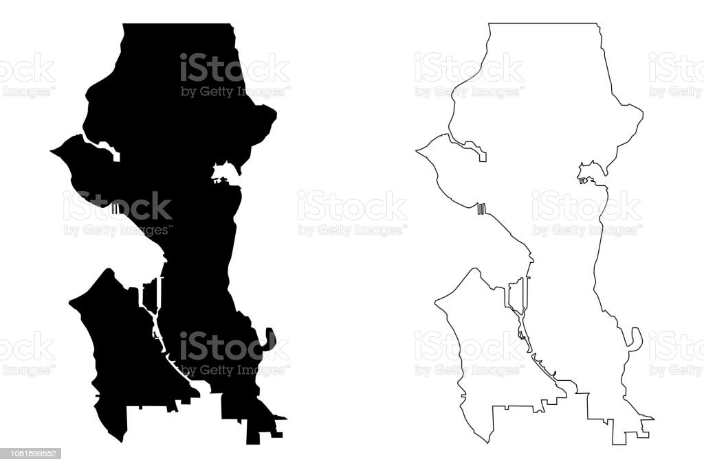 Seattle City Map Vector Stock Vector Art More Images Of Abstract
