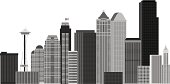 Seattle City Skyline and Landmarks Grayscale Vector Illustration