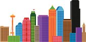Seattle City Skyline and Landmarks in Colors Vector Illustration