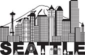 Seattle City Skyline and Text Black and White Illustration