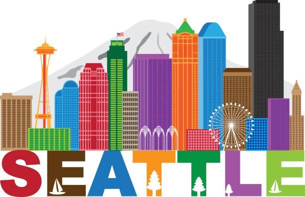 ilustraciones, imágenes clip art, dibujos animados e iconos de stock de horizonte de la ciudad de seattle andtext ilustración de colores - seattle