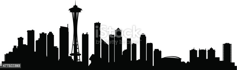 Seattle city skyline silhouette background, vector illustration. Full editable EPS 8. File contains gradients and transparency.