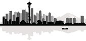 Seattle city skyline silhouette background