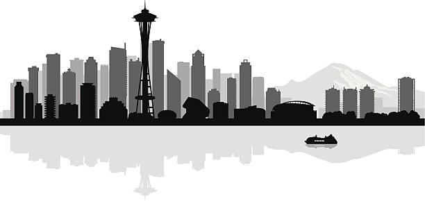 ilustraciones, imágenes clip art, dibujos animados e iconos de stock de fondo silueta de los edificios de la ciudad de seattle - seattle