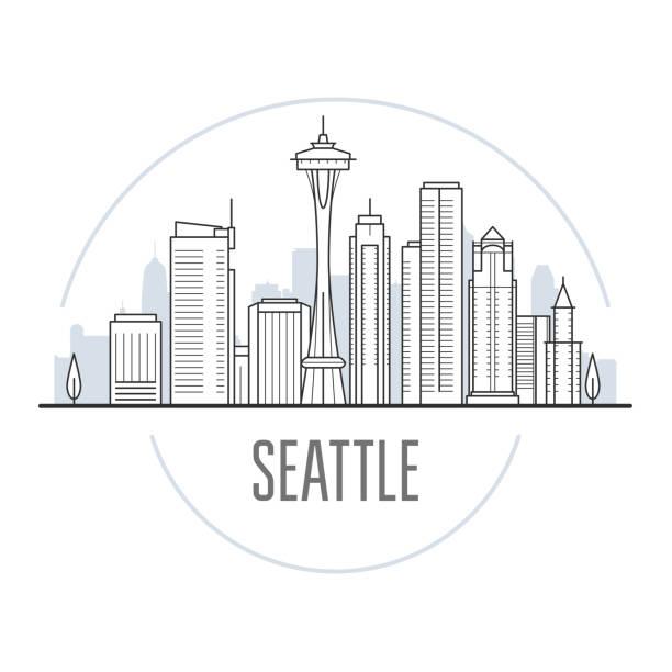 ilustraciones, imágenes clip art, dibujos animados e iconos de stock de horizonte de la ciudad de seattle - torres y puntos de referencia de seattle, paisaje urbano - seattle