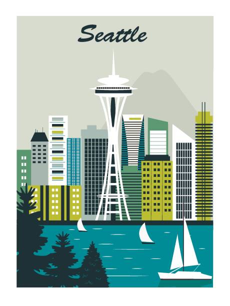 시애틀 시. - seattle stock illustrations