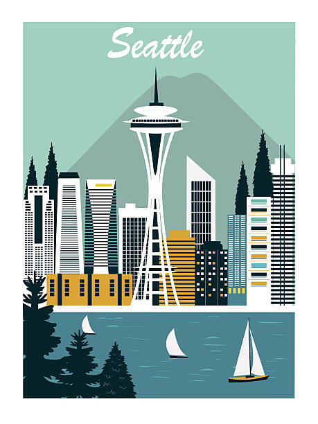 seattle city. - seattle stock illustrations