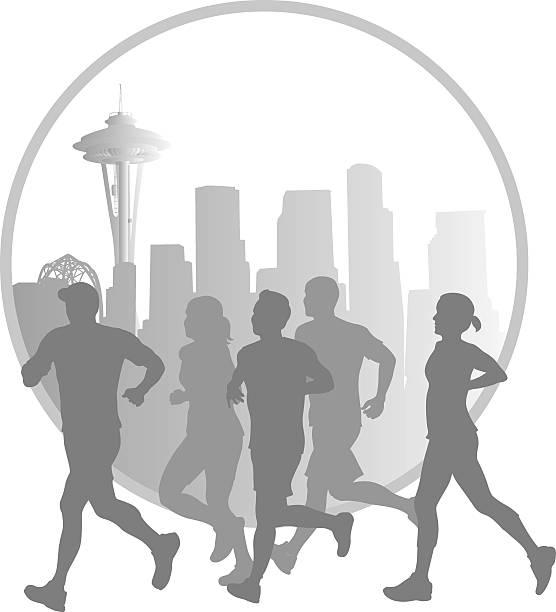 ilustrações de stock, clip art, desenhos animados e ícones de seattle marathon joggers vector silhouette - young woman running city