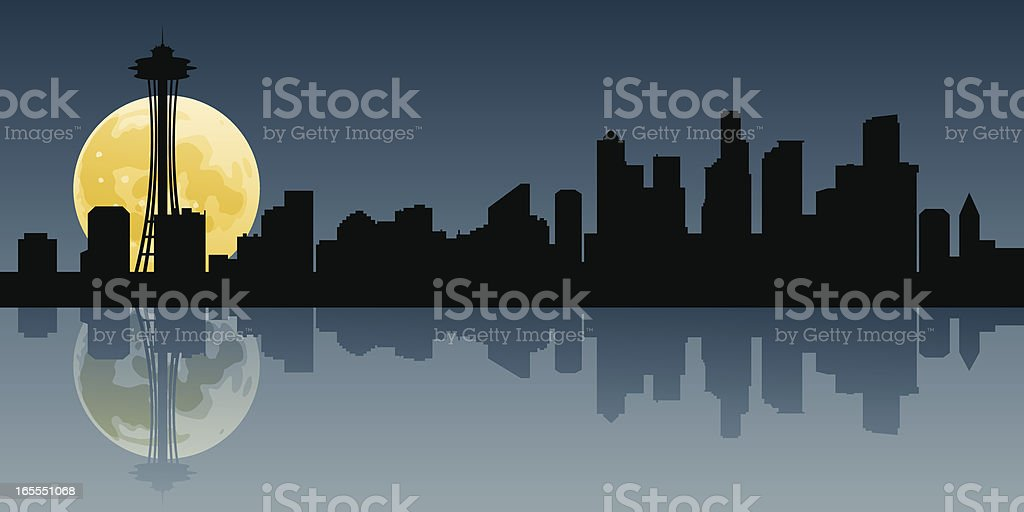 Seattle Moonrise royalty-free stock vector art