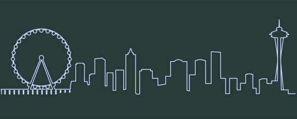 seattle single line skyline - seattle stock illustrations