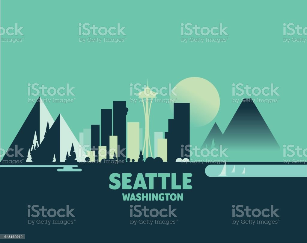 Seattle Skyline - Iconic Illustrations of Cities