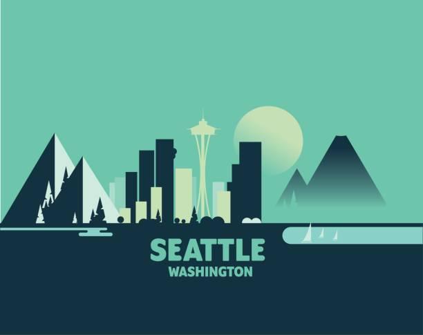ilustraciones, imágenes clip art, dibujos animados e iconos de stock de skyline de seattle - icónicas ilustraciones de ciudades - seattle