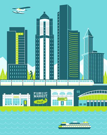 Seattle skyline illustration