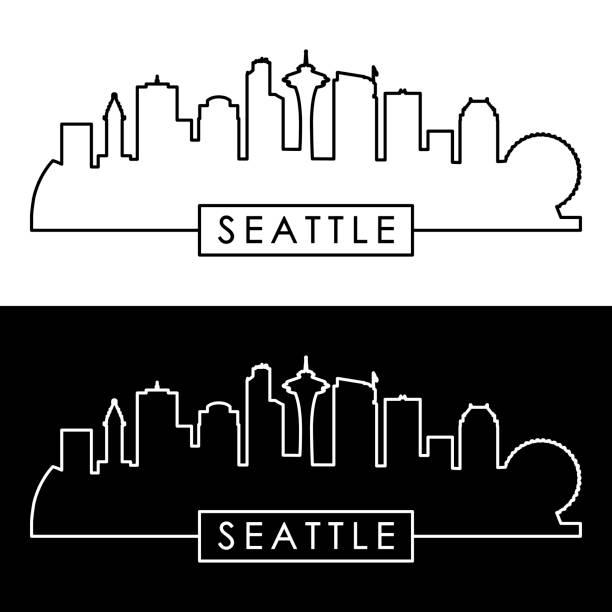 ilustraciones, imágenes clip art, dibujos animados e iconos de stock de horizonte de seattle. estilo lineal. - seattle
