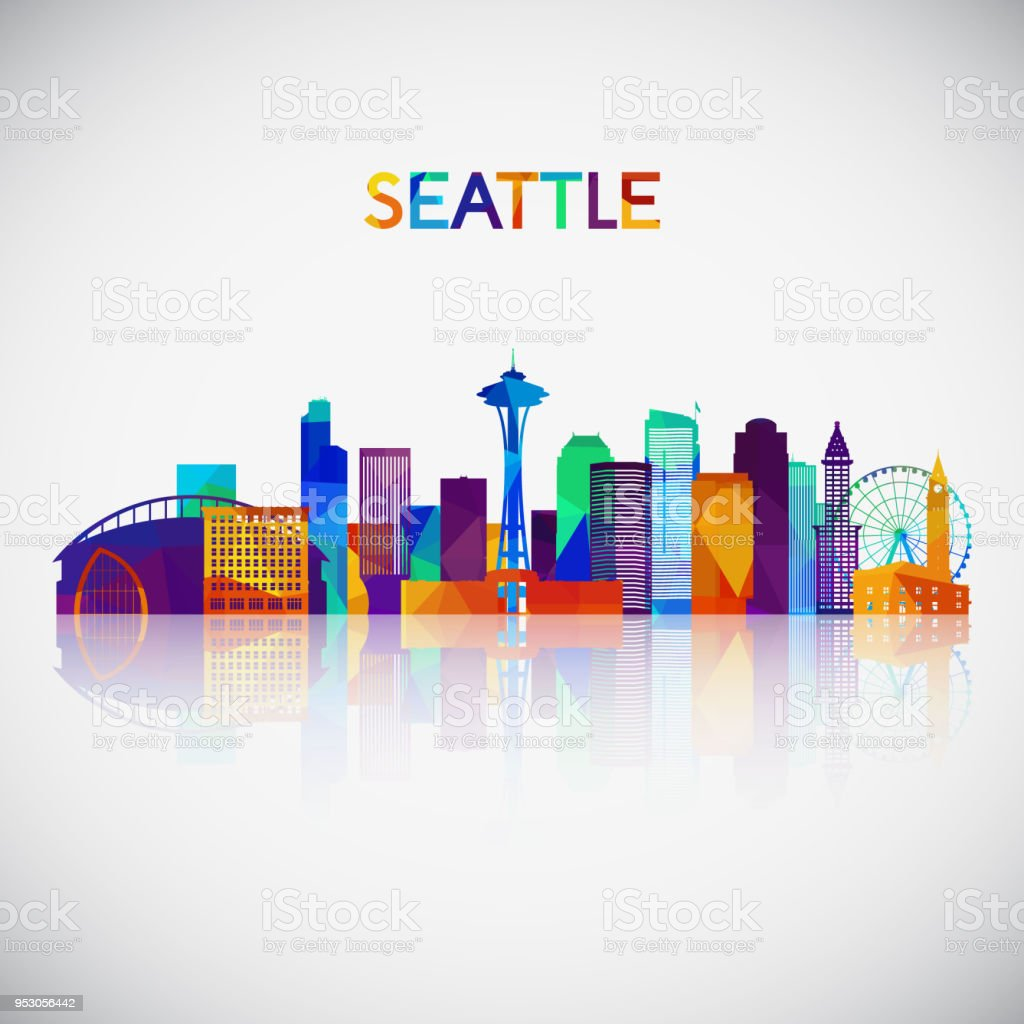 Seattle skyline silhouette in colorful geometric style. Symbol for your design. Vector illustration.