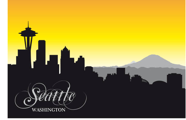 ilustraciones, imágenes clip art, dibujos animados e iconos de stock de skyline de seattle, silueta - seattle