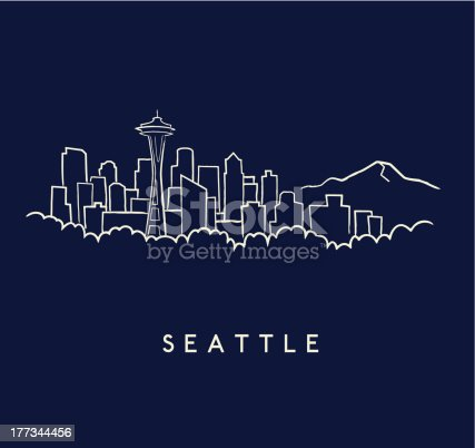Hand drawn sketch of the Seattle skyline on a dark blue background with text below