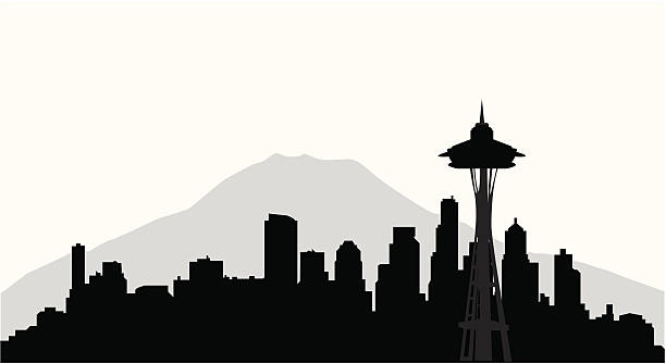сиэтл skyline (вектор - seattle stock illustrations