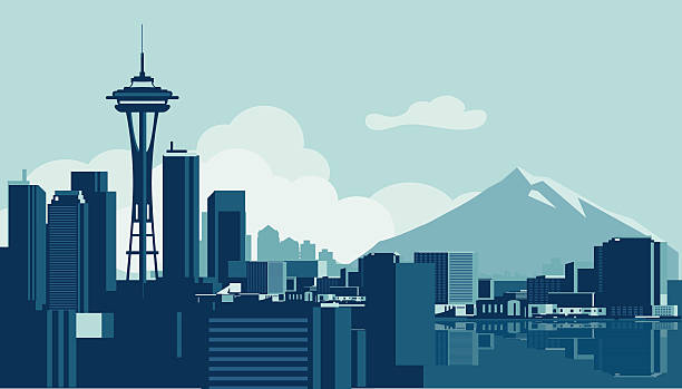 сиэтл skyline - seattle stock illustrations