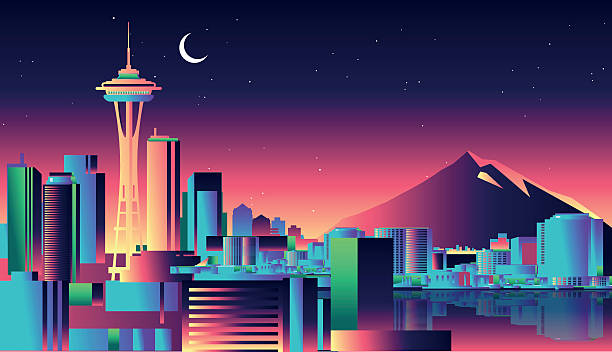 시애틀 스카이라인  - seattle stock illustrations